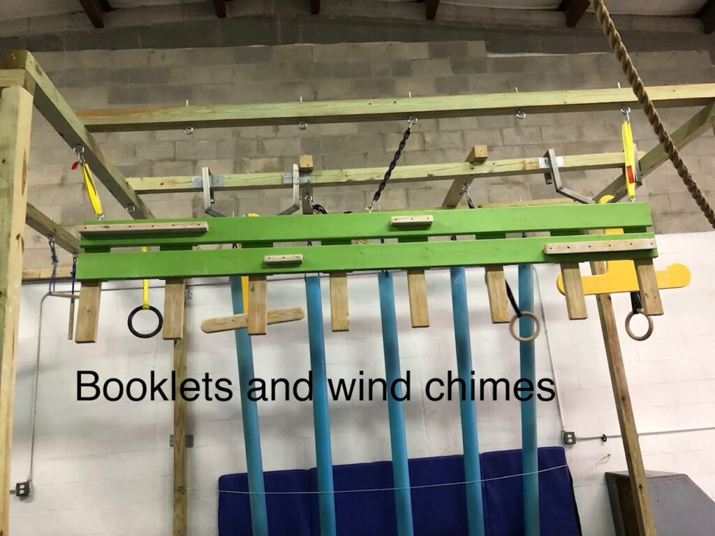 booklets and wind chimes obstacle
